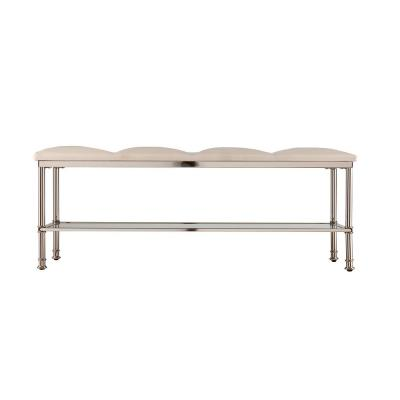 Gertrude Ivory with Mirrored Shelf Storage Bench