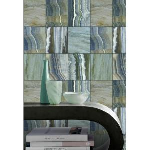 Walls Republic Marbled Tiles Contemporary Grey and Blue Wallpaper by Walls Republic
