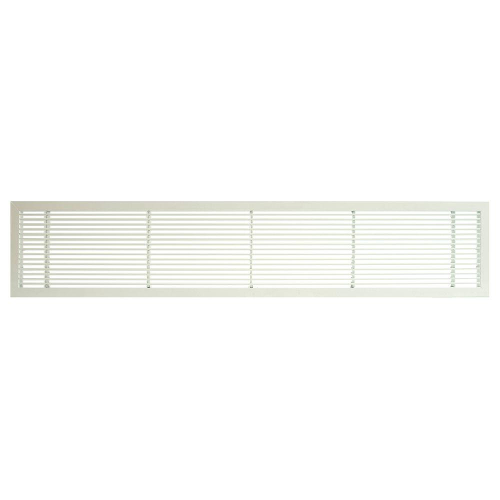 Architectural Grille AG10 Series 4 in. x 10 in. Solid Aluminum Fixed Bar Supply/Return Air Vent Grille, White-Matte
