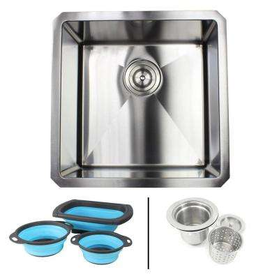 Undermount 16-Gauge Stainless Steel 18 in. x 18 in. x 10 in. Single Bowl Kitchen Sink Combo