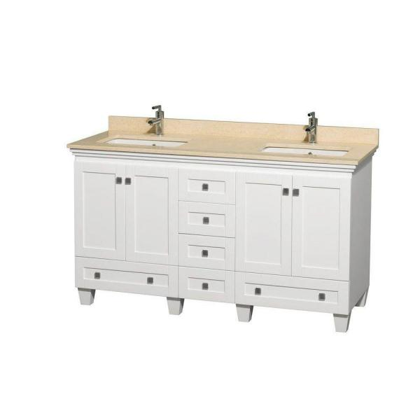 Acclaim 60 in. Double Vanity in White with Marble Vanity Top in Ivory and Square Sink