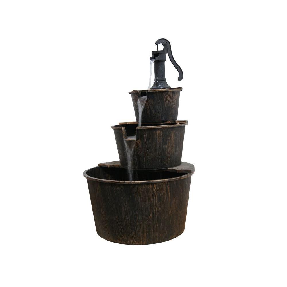 Alpine Corporation 3 Tiered Rustic Pump Outdoor Waterfall Barrel Fountain