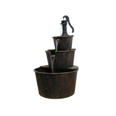 41 in. Brown 3-Tier Pump and Barrels Fountain