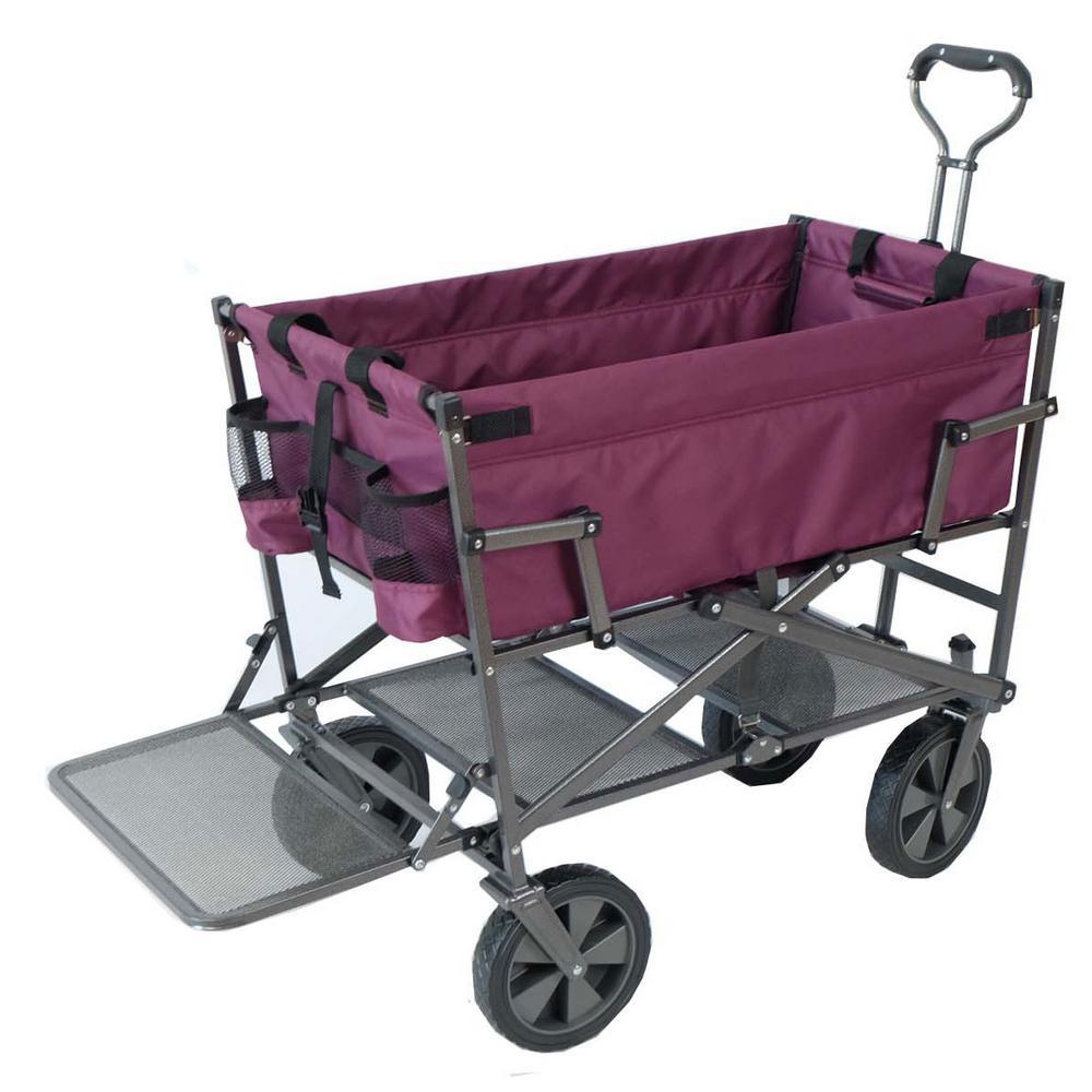 Heavy-Duty Steel Double Decker Collapsible Yard Cart Wagon, Purple