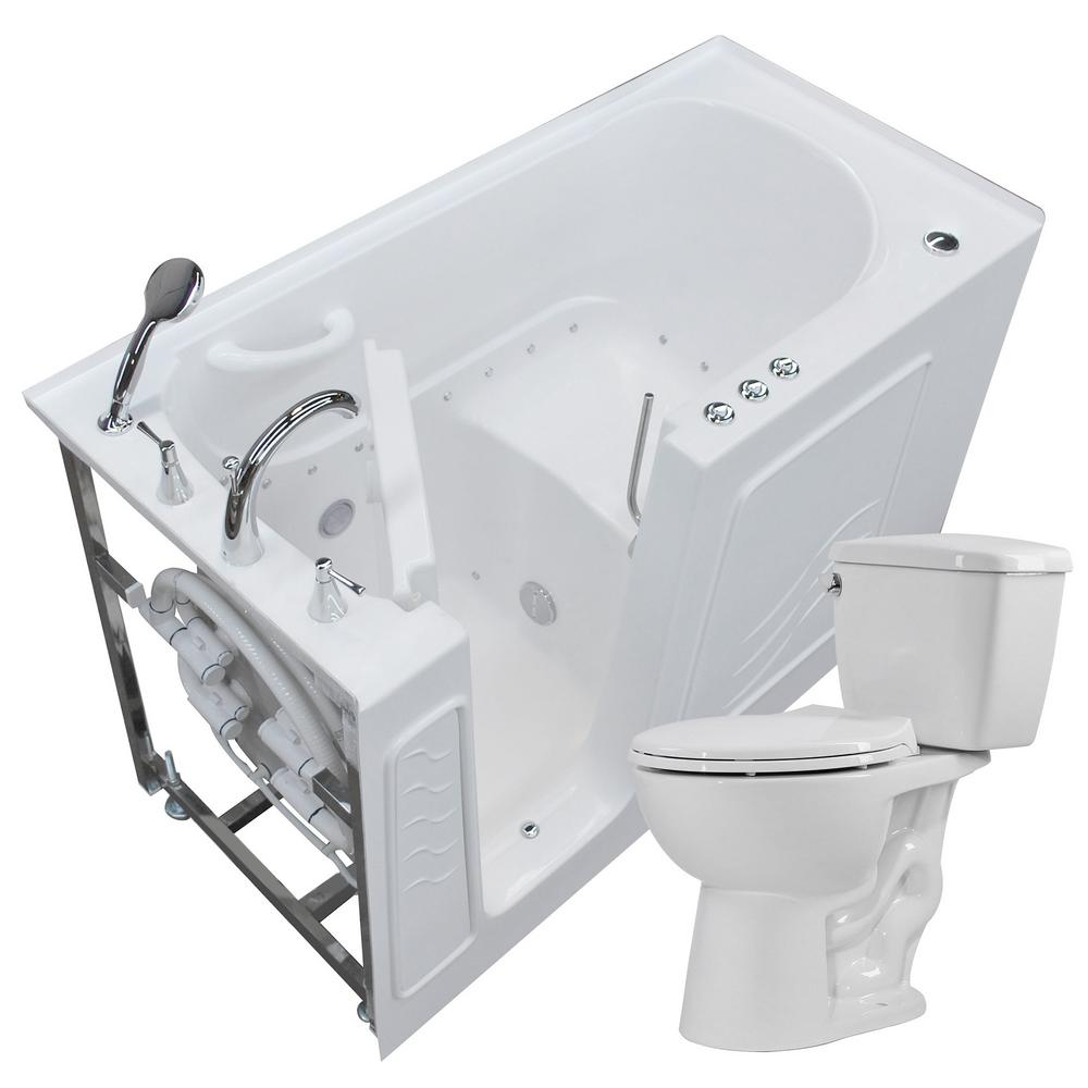Nova Heated 60 in. Walk-In Air Bath Tub in White with 1.28 GPF Single Flush Toilet