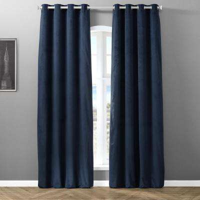 Blackout Signature Natural Grey Grommet Blackout Velvet Curtain - 50 in. W x 96 in. L (1 Panel)