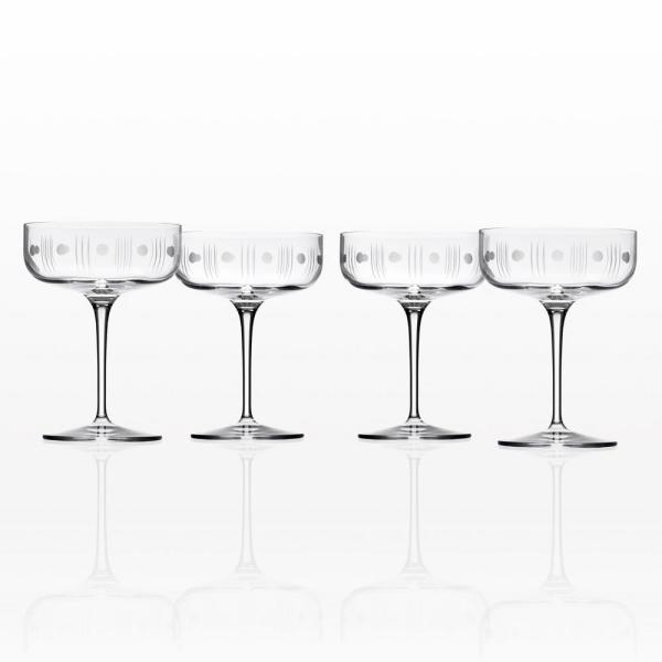 Mid-Century Modern 10 oz. Clear Coupe (Set of 4)