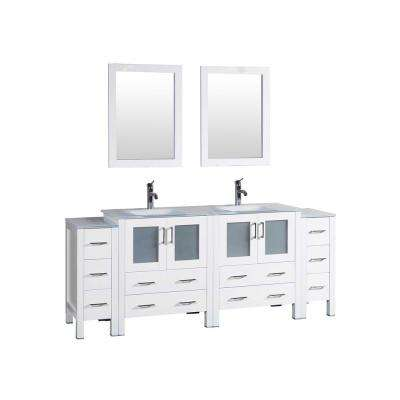 84 in. W Double Bath Vanity in White with Tempered Glass Vanity Top with White Basin, Polished Chrome Faucet and Mirror