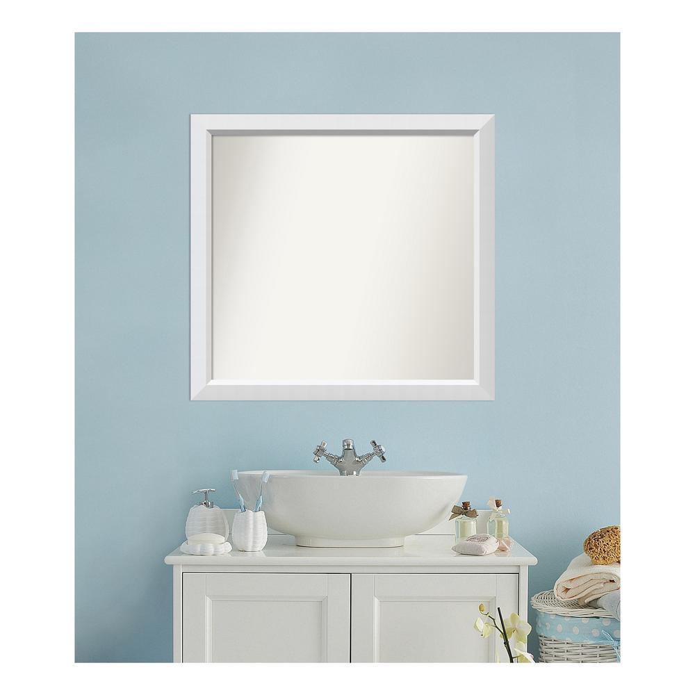 Medium Rectangle White Modern Mirror (32 in. H x 34 in. W)