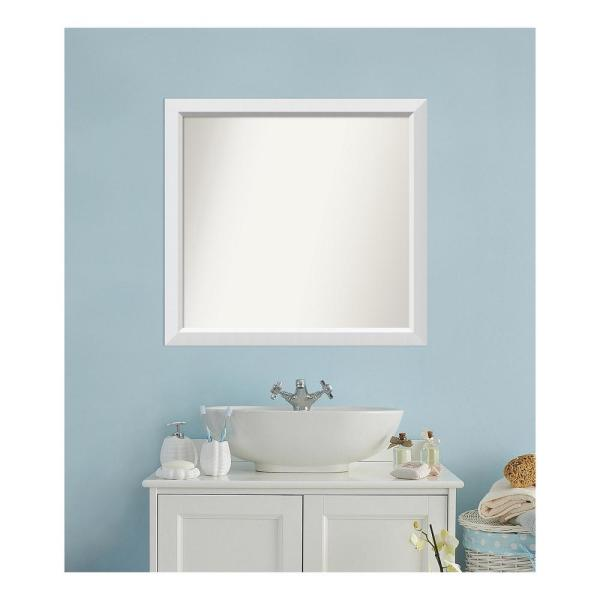 Medium Rectangle White Modern Mirror (32 in. H x 34 in. W)