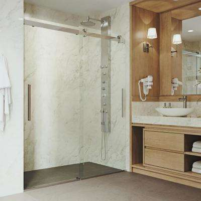 Caspian 60 in. x 74 in. Frameless Sliding Shower Door in Chrome