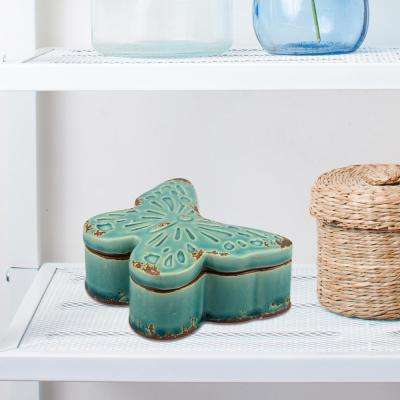 5in x 4in. Ceramic Turquoise Butterfly Box