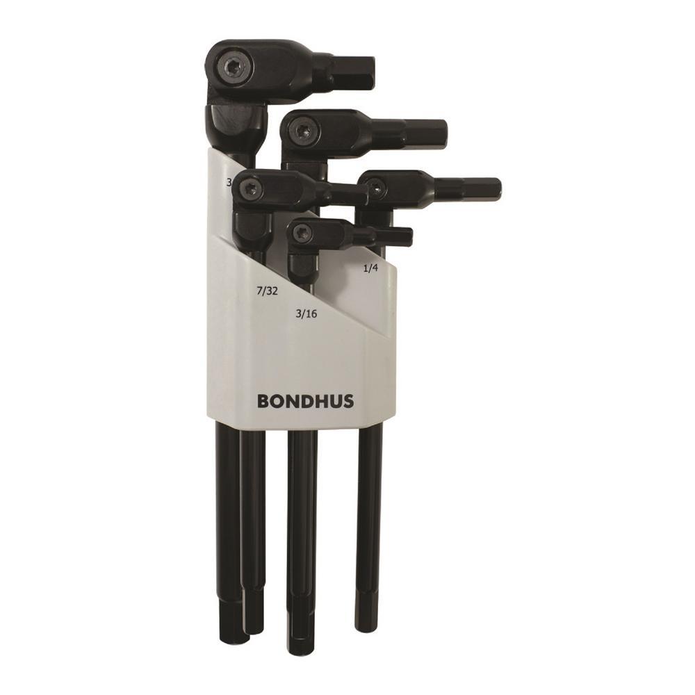 HexPro Black Chrome Pivot Head Hex Key Set (5-Piece)