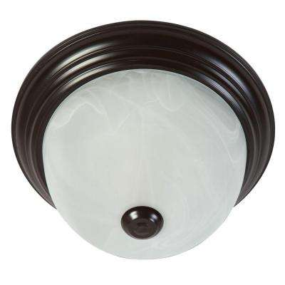 Flushmount Lighting Series 1-Light Oil-Rubbed Bronze Flushmount with Alabaster Glass Shade