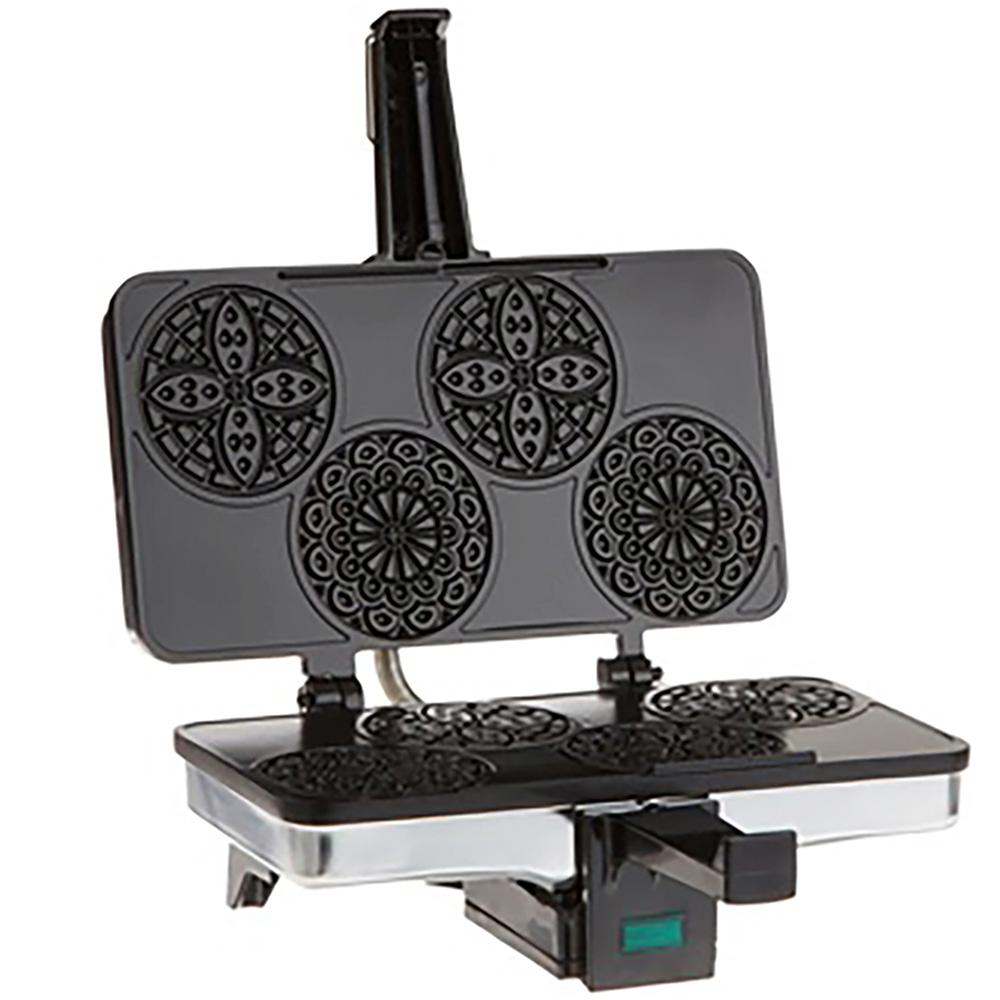 CucinaPro Piccolo Mini Pizzelle Baker in Stainless CucinaPro Piccollo Pizzelle Baker allows you to make four 3.25 in. traditional Italian waffle cookies, which is know to be one of the oldest cookie. The iron stamps a snowflake pattern onto both sides of the thin golden-brown cookie, which has a crisp texture once it is cooled. Pizzelles can be shaped into a cannolo and filled with creme, two pizzelles can be sandwiched and filled with cream, or while still warm the pizzelles can be rolled using a wooden dowel to create cannoli shells. Color: Stainless.