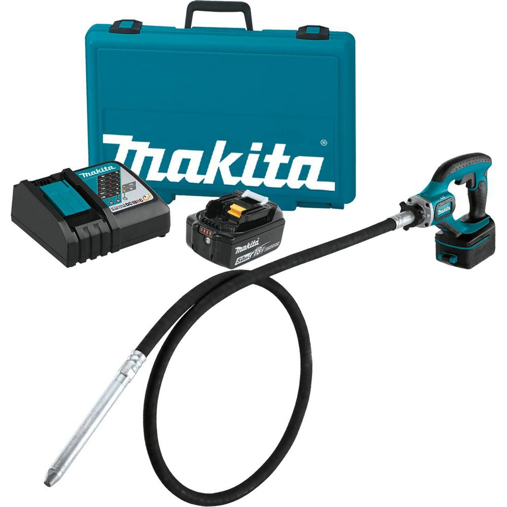 Makita 18-Volt 5.0Ah LXT Lithium-Ion Cordless 8 ft. Concr...