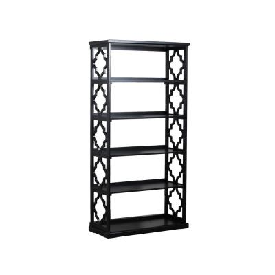 72.28 in. Black Wood 5-shelf Standard Bookcase with Open Back