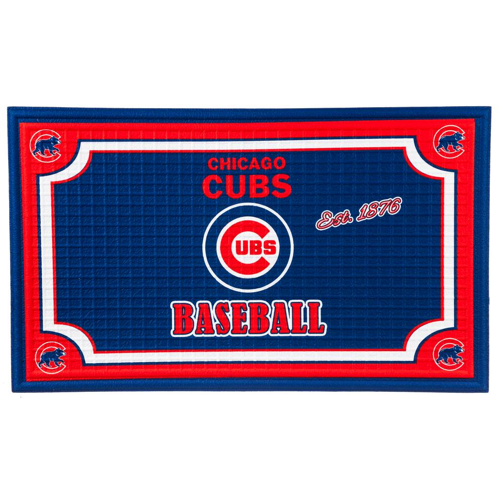 Evergreen Chicago Cubs 18 In. X 30 In. Embossed Welcome Mat