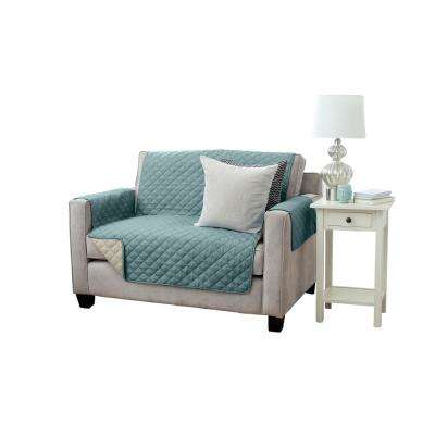 Kaylee Collection Blue Silver Reversible Quilted Furniture Loveseat Protector