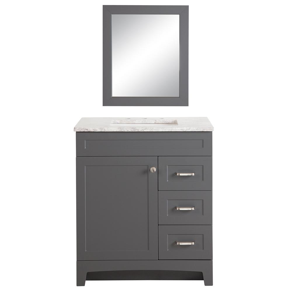 Home Decorators Collection Thornbriar 30 in. W Bath Vanity in Cement with Stone Effects Vanity Top in Winter Mist with White Basin and Mirror