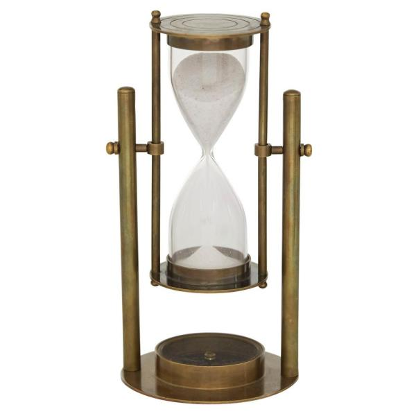 Litton Lane 4 In X 8 In Antique Bronze Small Rotating Brass Metal Sand Timer 18917 The Home Depot
