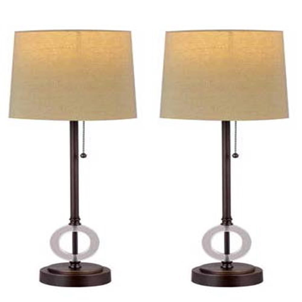 Cory Martin 24 in. Oil Rubbed Bronze Table Lamp with USB Port (2-Pack)