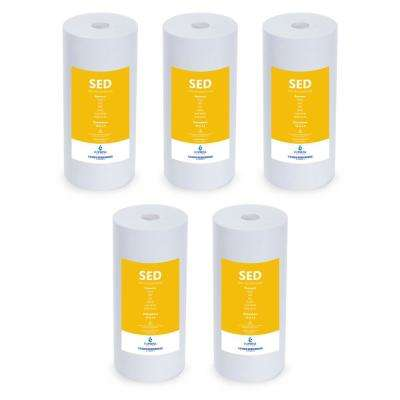 4.5 x 10 in. Sediment Replacement Filter SED Dirt, Sand, Rust Water Filter Whole House Filtration 5 Micron (5-Pack)