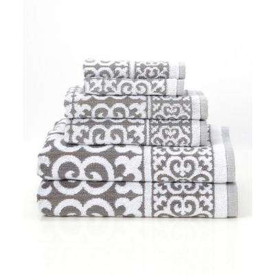 Arabesque 6-Piece 100% Cotton Bath Towel Set in Silver
