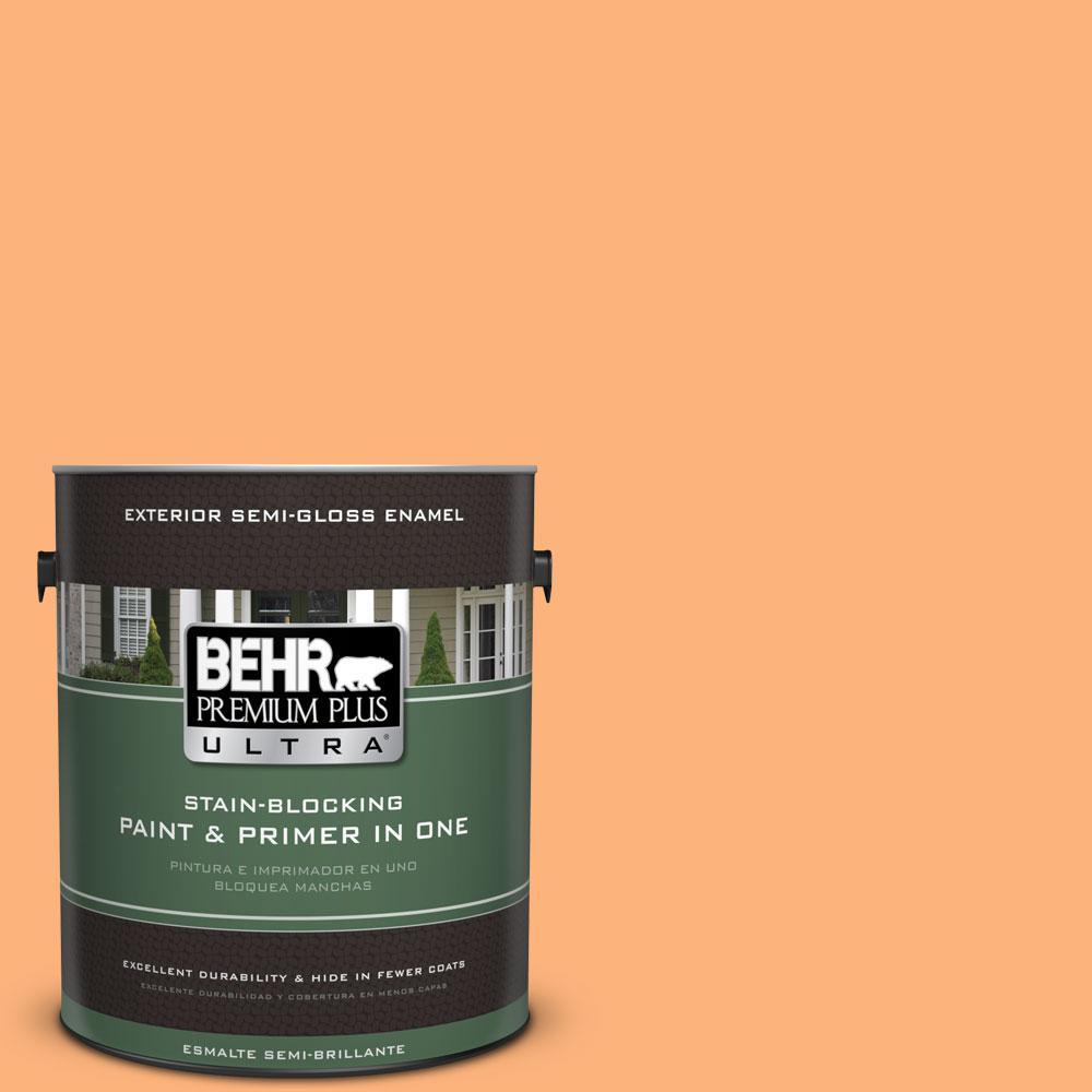 BEHR Premium Plus Ultra 1-gal. #P220-5 Fuzzy Peach Semi-Gloss Enamel Exterior Paint