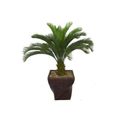 58 in. Tall Cycas Palm Tree in 17 in. Fiberstone Planter