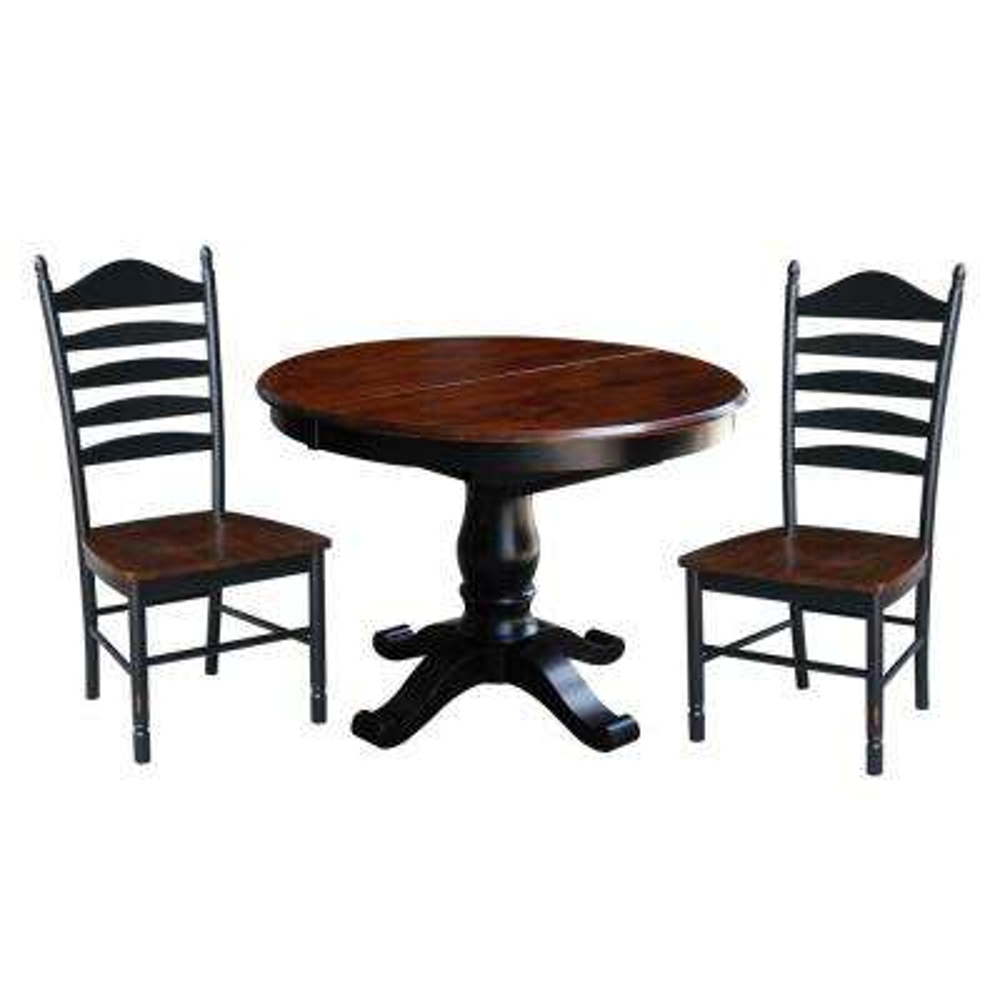 Bridgeport 3-Piece Aged Ebony and Espresso Dining Set