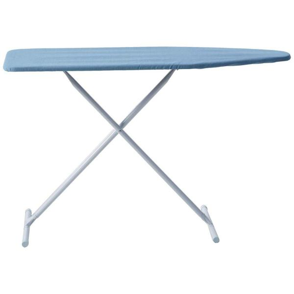 T-Leg Adjustable Steel Top Ironing Board with Solid Blue Cover
