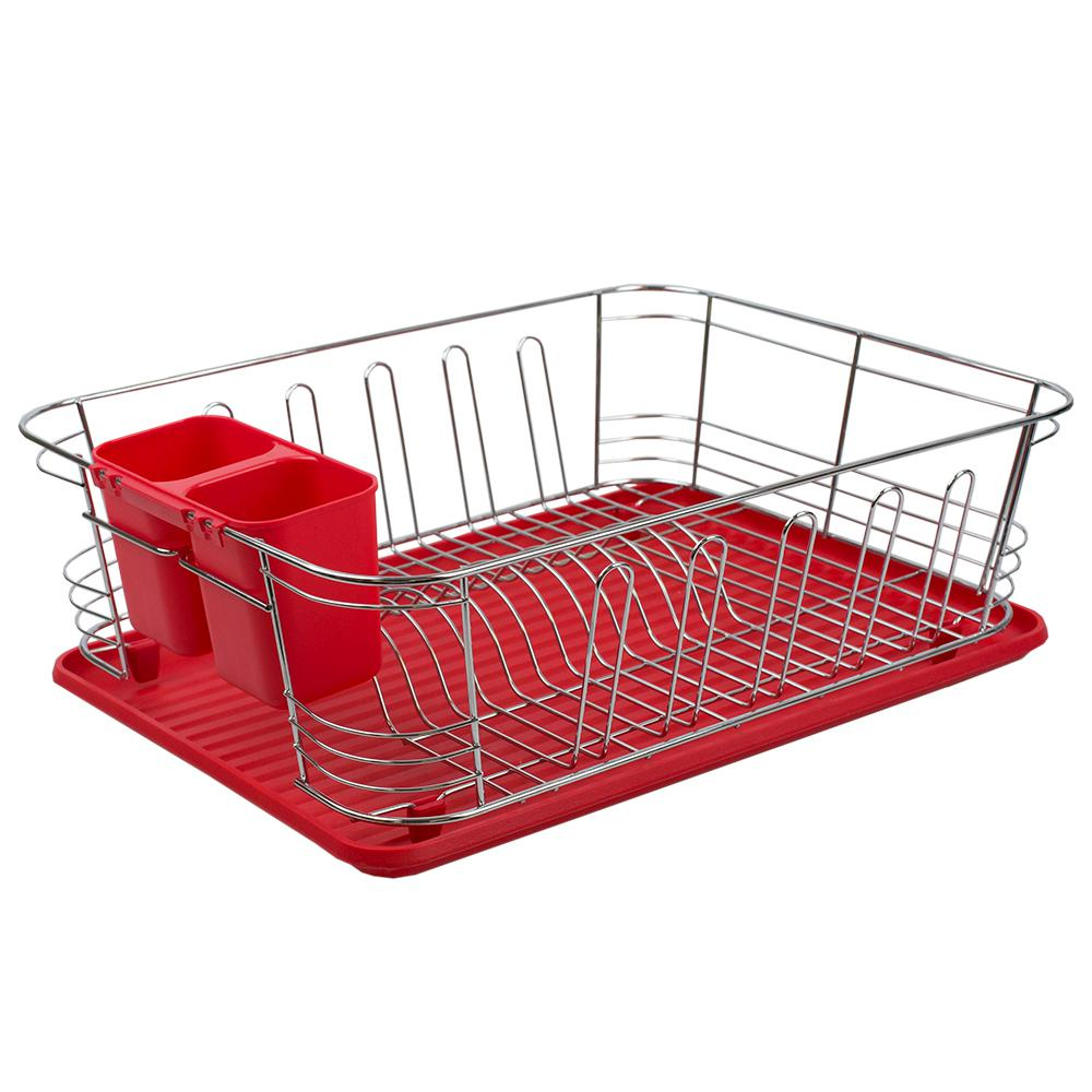 Red 3-Piece Chrome Plated Steel and Plastic Dish Rack