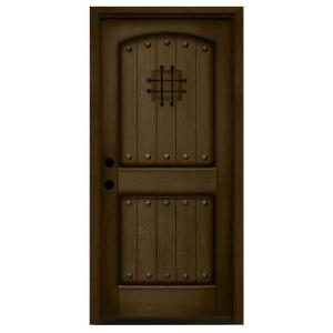 Rustic 2-Panel Speakeasy Stained Mahogany Wood Prehung