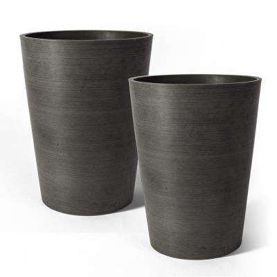 Valencia 6 in. x 7.5 in Charcoal Plastic Planter (2-Pack)