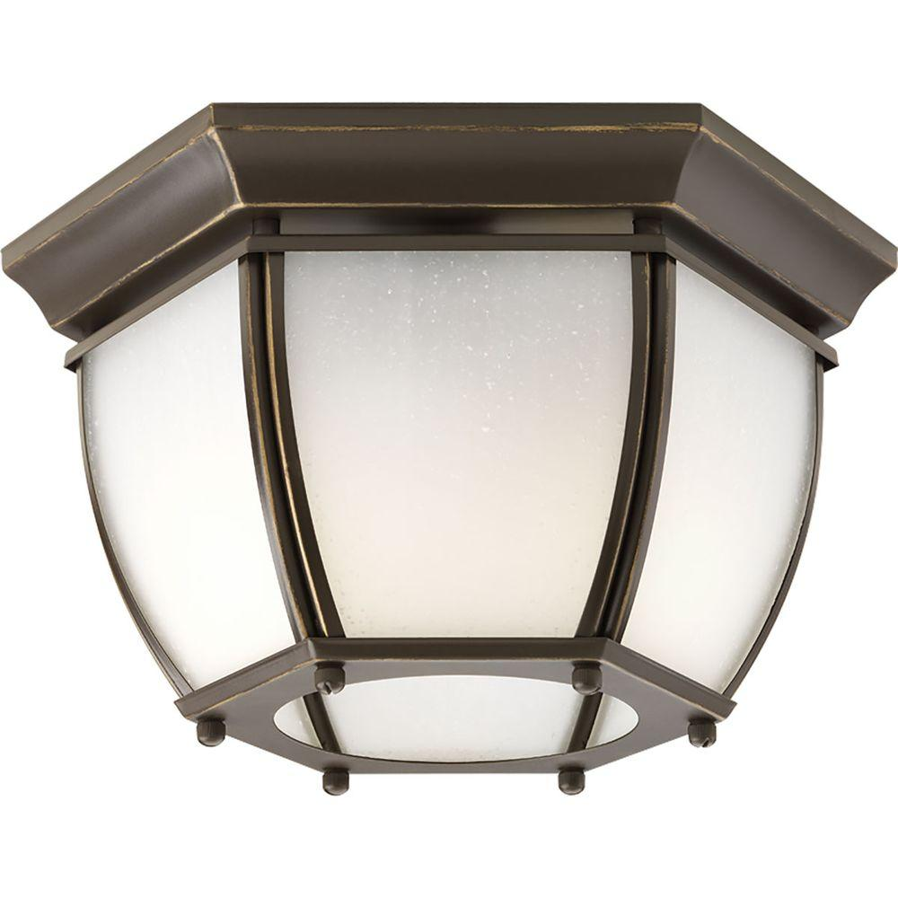 Progress Lighting Roman Coach Collection 2-Light Outdoor Antique Bronze Flushmount