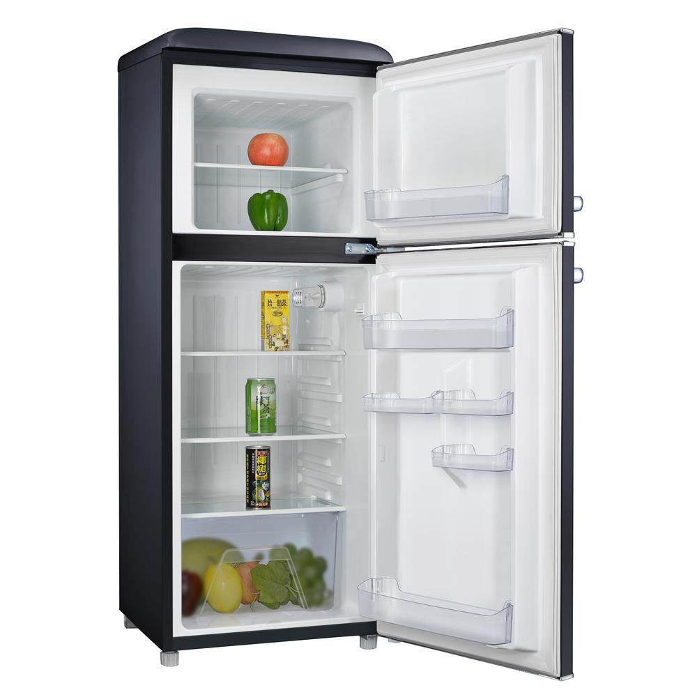 4.6 cu. ft. Retro Mini Fridge with Dual Door True Freezer in Black