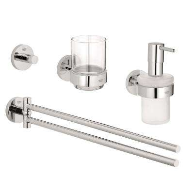 Essentials Accessories 4-Piece Bath Hardware Set in StarLight Chrome