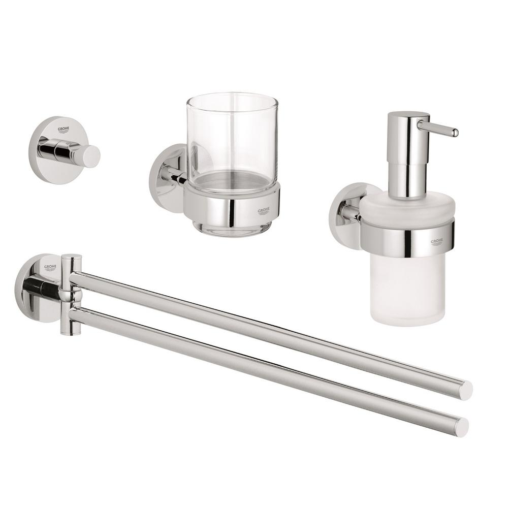 grohe essentials accessories 4 piece bath accessory set in starlight chrome 40846001 the home. Black Bedroom Furniture Sets. Home Design Ideas