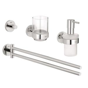 GROHE Essentials Accessories 4-Piece Bath Accessory Set in StarLight Chrome by GROHE