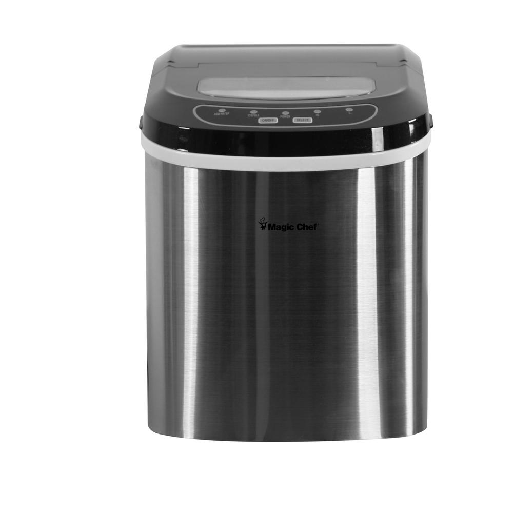 Magic Chef 27 lb. Portable Countertop Ice Maker in Black Stainless
