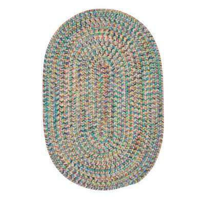 Dessi Bright Multi 2 ft. x 6 ft. Braided Indoor/Outdoor Oval Runner Rug