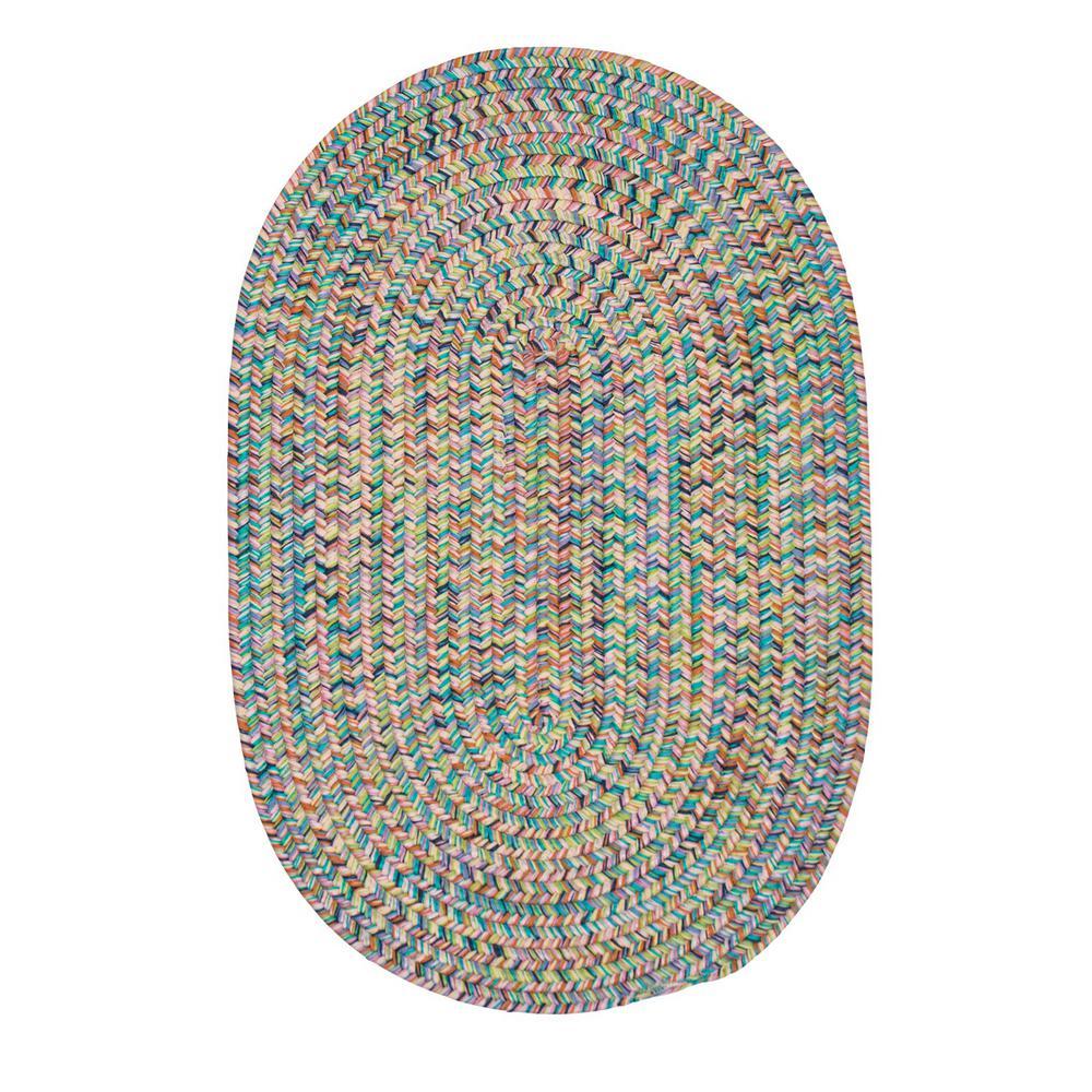 Dessi Bright Multi 4 ft. x 4 ft. Braided Indoor/Outdoor Round Area Rug