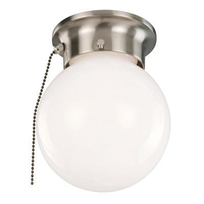 1-Light Satin Nickel Ceiling Light with Opal Glass and Pull Chain