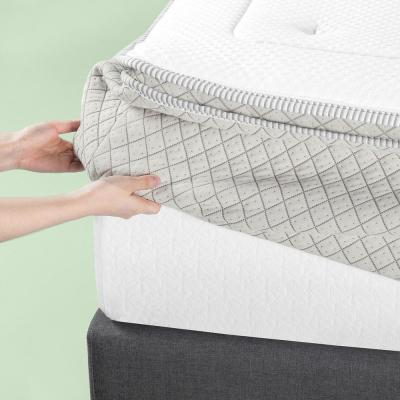 2.5 Inch Green Tea Pressure Relief Queen Memory Foam Mattress Topper with Fitted Cover