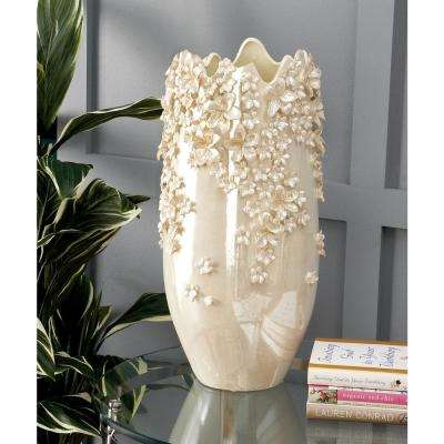 19 in. Jagged Floral Pearl White Ceramic Decorative Vase