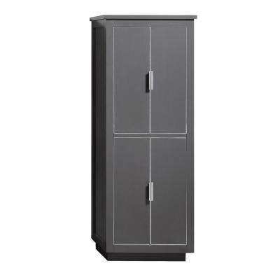 Allie 24 in. W x 16 in. D x 65 in. H Floor Cabinet in. Twilight Gray Finish with Silver Trim