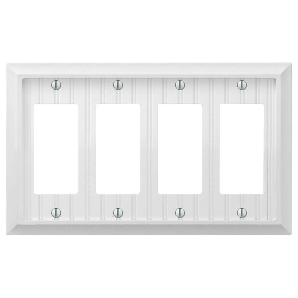 Cottage 4-Gang Decora Wall Plate - White