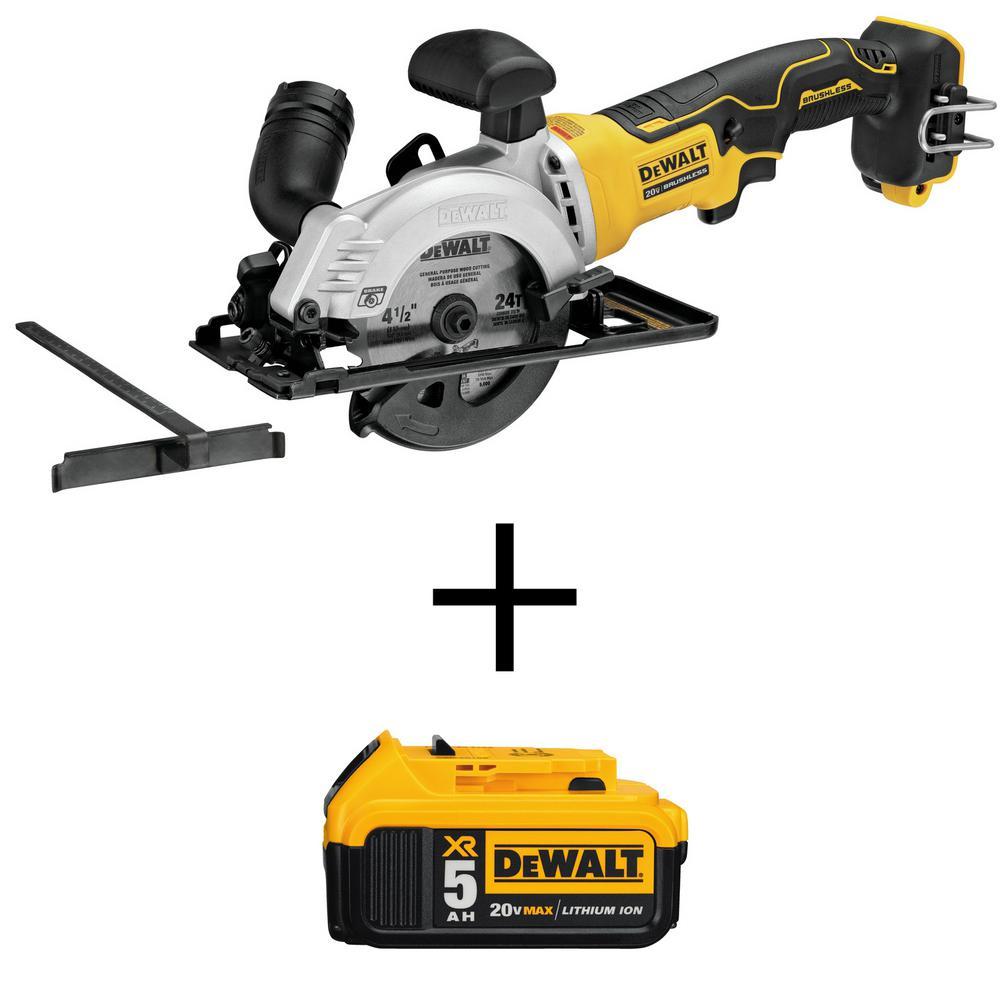Dewalt ATOMIC 20-Volt MAX Cordless 4-1/2 in. Circular Saw (Tool-Only) with Bonus 20-Volt MAX Li-Ion Premium Battery Pack 5.0Ah