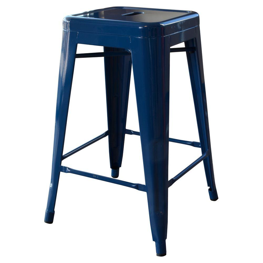 Loft Style 24 in. Stackable Metal Bar Stool in Blue